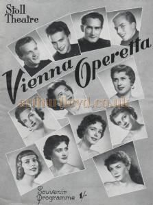 A Programme for the Vienna Operetta in 1954 - Courtesy Maurice Norman.