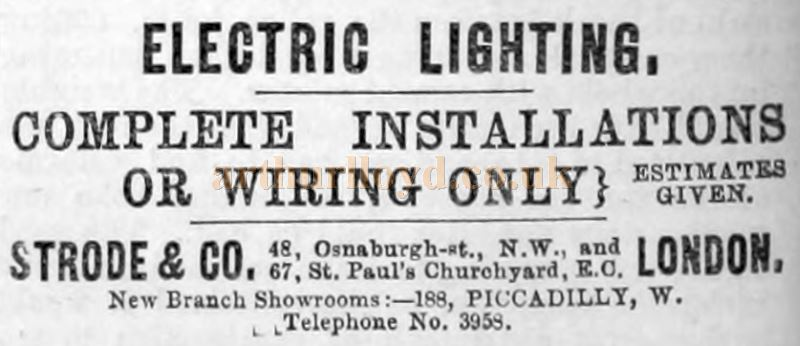 An Advertisement for Strode and Co.'s Electrical Lighting - From The Building News and Engineering Journal, of January the 10th, 1890.