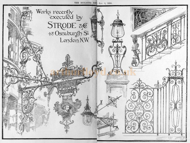 Examples of Strode and Co.'s Wrought Ironwork - From The Building News and Engineering Journal, January 3rd, 1890.