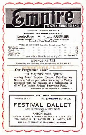 A programme for 'And So To Bed' at the Sunderland Empire in November 1953.