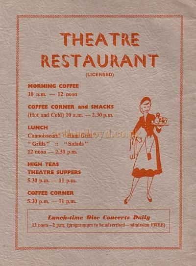 The Theatre Restaurant - From the opening programme for the Empire, Sunderland as a Civic Theatre - Courtesy Roy Cross.