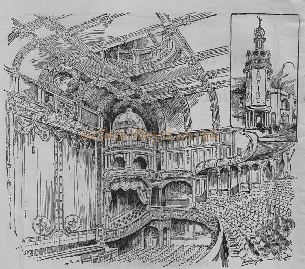 A sketch of the auditorium and entrance to the Sunderand Empire - From a programme for the Theatre's reopening in 1960  - Courtesy Roy Cross.