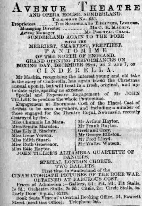A Bill for a production of the pantomime 'Cinderella' at the Avenue Theatre, Sunderland in December 1899  -  Courtesy Steve Kilburn