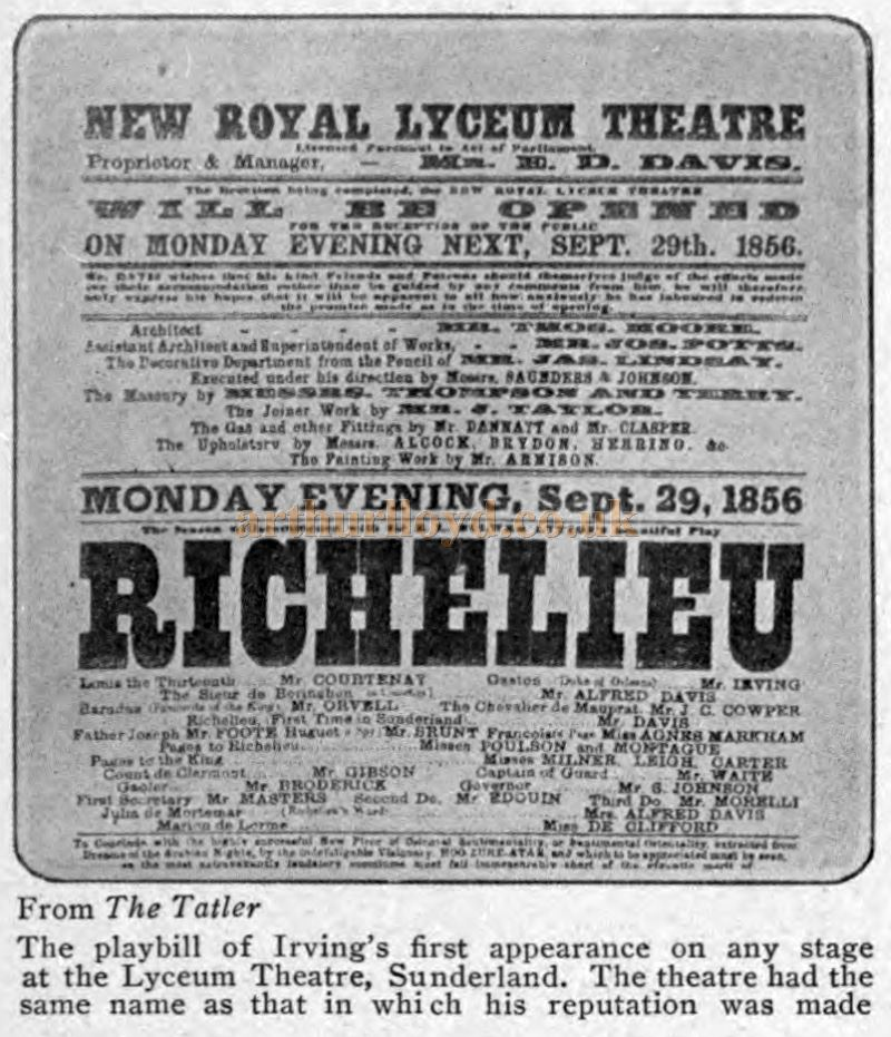 The Opening Bill for the New Royal Lyceum Theatre, Sunderland on September 29th 1856 - From The Theatre Magazine, December 1905, originally published in The Tatler.