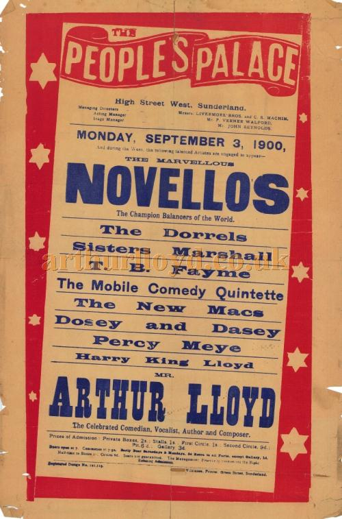 A Poster for a Music Hall production at the People's Palace, Sunderland on September the 3rd 1900 - Click to Enlarge and for more information.