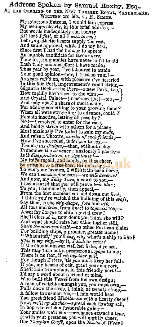 Samuel Roxby's opening address for the Theatre Royal, Sunderland - Printed in the ERA's 6th of January 1856 edition.