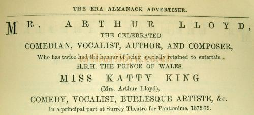 Advertisement from the ERA Almanack of 1880 for Arthur Lloyd and Katty King in Pantomime at the Surrey Theatre in 1878 - 1879 - Courtesy Jennifer Carnell.