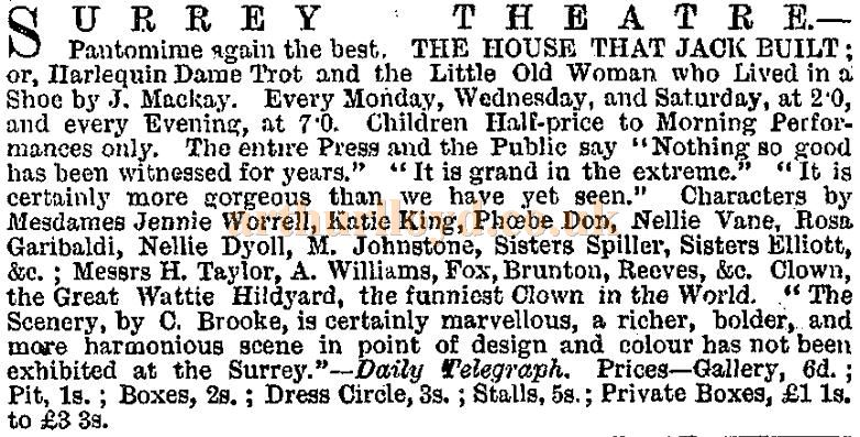 A cutting from the ERA of the 28th of December 1878 on the pantomime 'The House That Jack Built' at the Surrey Theatre in 1878 / 1879.