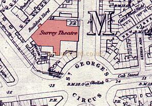 Surrey Theater1872 Old Ordnance Survey Maps -- Waterloo & Southwark, 1872