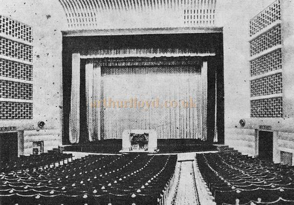 The Interior of the Granada Sutton, formerly the Plaza Theatre as originally built. The lighting was bright enough for Saturday evening patrons to check their football pools against the newspaper results while waiting for the programme to start - From the 21st Anniversary edition of the Cinema Organ Society Journal 1973