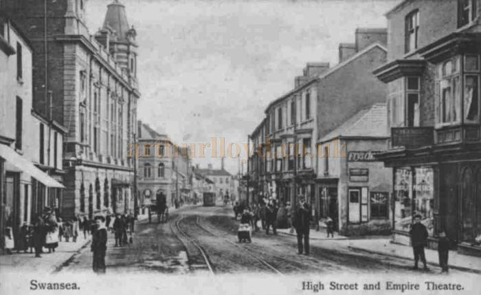 A postcard showing the newly renamed Empire Theatre on the High Street Swansea, later the Palace Theatre