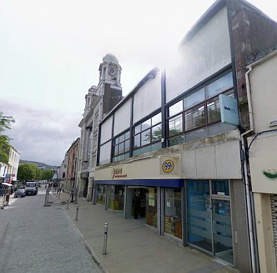 A Google StreetView image of the site of the Swansea Empire today - Click to interact.