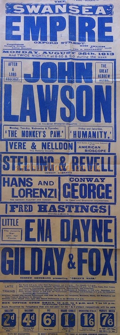 A Variety Poster for the Swansea Empire in August 1913 - Courtesy Colin Charman whose Grandmother Ena Dayne featured on the Bill.