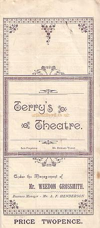 Programme for 'The New Boy' and 'The Gentleman Whip' at Terry's Theatre in 1894.