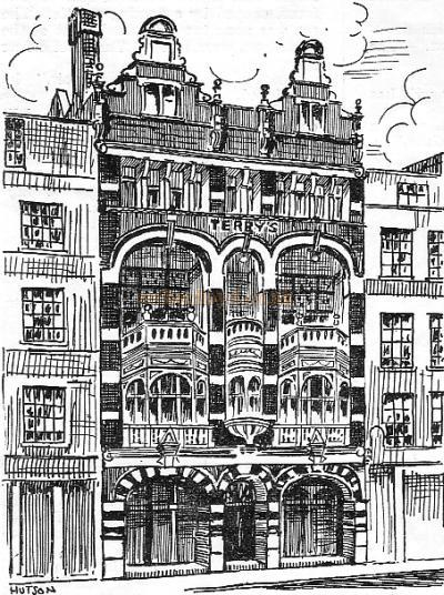 A Line drawing of Terry's Theatre - From 'The Romance of London Theatres' by Ronald Mayes, from a programme for the Lewisham Hippodrome.