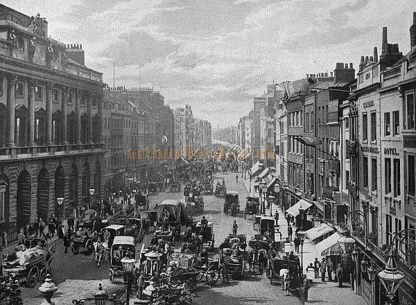 The Strand, looking West - Robert Lloyd's Hatters Shop at No. 71 is far to the left.