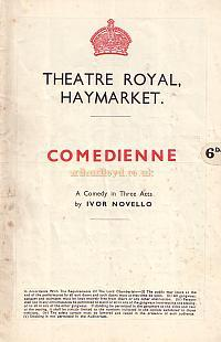 Programme for 'Comedienne' at the Theatre Royal Haymarket in 1938.