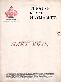 Programme for J. M. Barrie's 'Mary Rose' at the Theatre Royal Haymarket which opened in 1920 and ran for 399 performances.