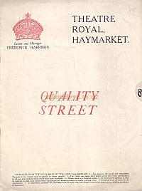 Programme for 'Quality Street' at the Theatre Royal Haymarket in 1921.