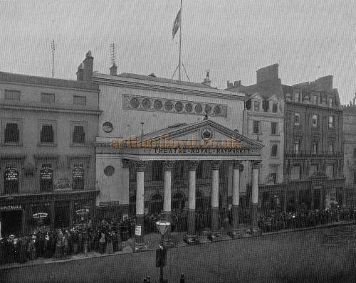 The Theatre Royal Haymarket in 1897 - From a Programme for J. M. Barrie's 'The Little Minister' which opened at the Theatre Royal Haymarket that year. Notice the original Theatre, converted to shops, is still to be seen to the left of the Second.