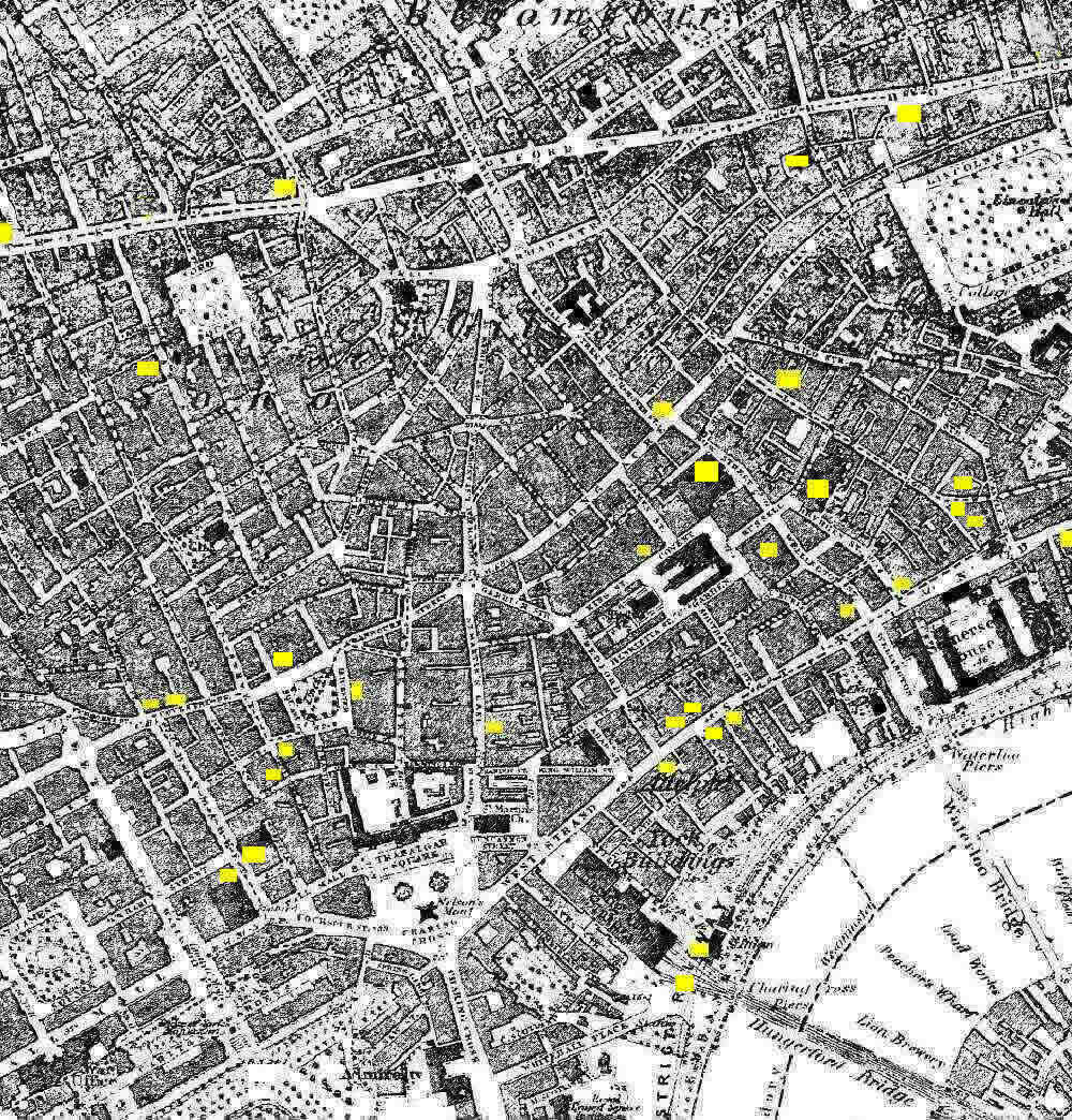 hover cursor over yellow markers for theatre hotspots image produced from the wwwold mapscouk service with permission of landmark information group