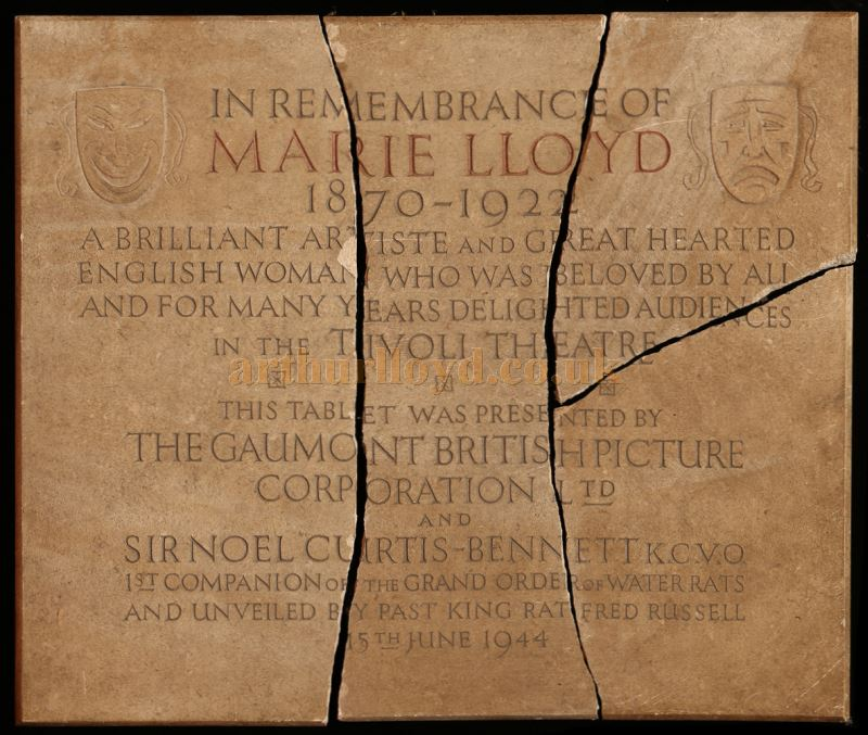 The Marie Lloyd Remembrance Tablet from the Tivoli Picture Theatre, here shown broken into four pieces where it was found unceremoniously dumped in a skip and saved by a member of the public who handed it over to the British Music Hall Society. Photo Courtesy © The Andy Hollingworth Archive.