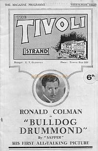 A Programme for 'Bulldog Drummond' at the Tivoli Cinema, Strand on September 16th 1929.