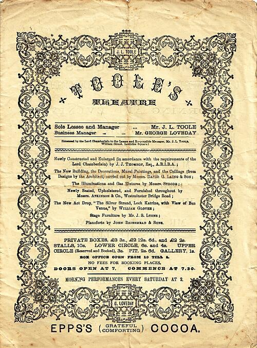A Benefit programme for the newly constructed Toole's Theatre on July the 1st 1882.