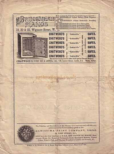 The back of a Benefit programme for the newly constructed Toole's Theatre on July the 1st 1882.