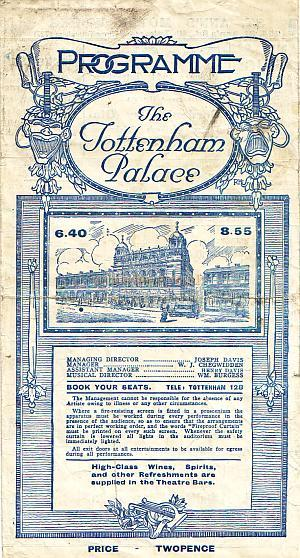 Programme for 'Splinters of 1923' at the Tottenham Place Theatre in October 1923. Click to see Entire Programme.
