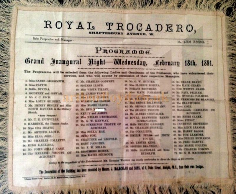 A Silk Programme for a 'Grand Inaugural Night' at the Royal Trocadero, Shaftesbury Avenue on Wednesday the 18th of February 1891 - Courtesy James Burling.