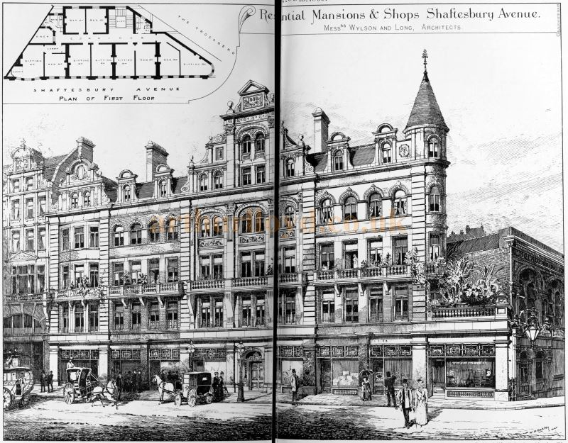 Wylson and Long's Avenue Mansions when first built in 1889, later the Trocadero Restaurant - From The Building News and Engineering Journal, 15th November 1889.