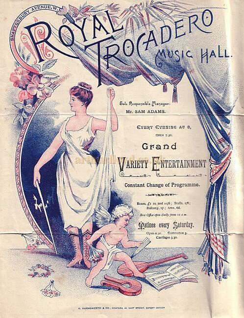 A programme for 'A Grand variety Entertainment' at the Royal Trocadero Music Hall with Arthur Lloyd on the Bill on the 24th of June 1890 - Courtesy Peter Charlton - Click to see the whole programme.