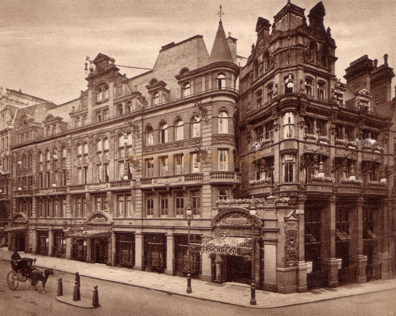 An early postcard showing the former Avenue Mansions, Shaftesbury Avenue, now re-branded as the Trocadero Restaurant.
