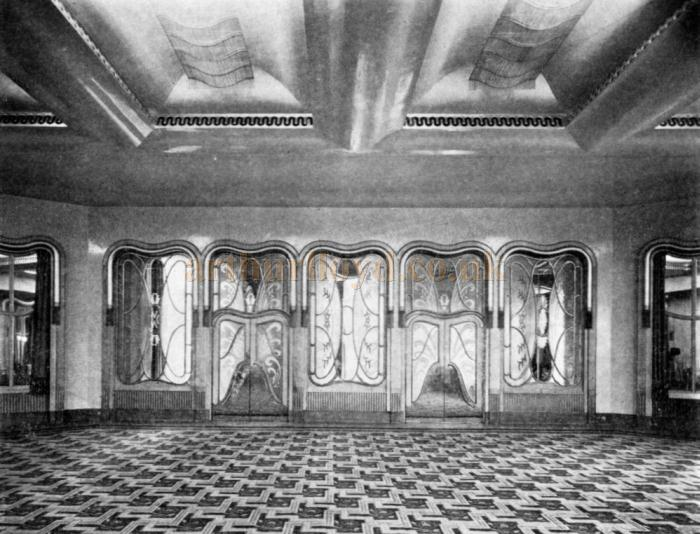 The 1930s redecorated Trocadero Grill Room Entrance Screen - From the Architect & Building News May 2nd 1930.