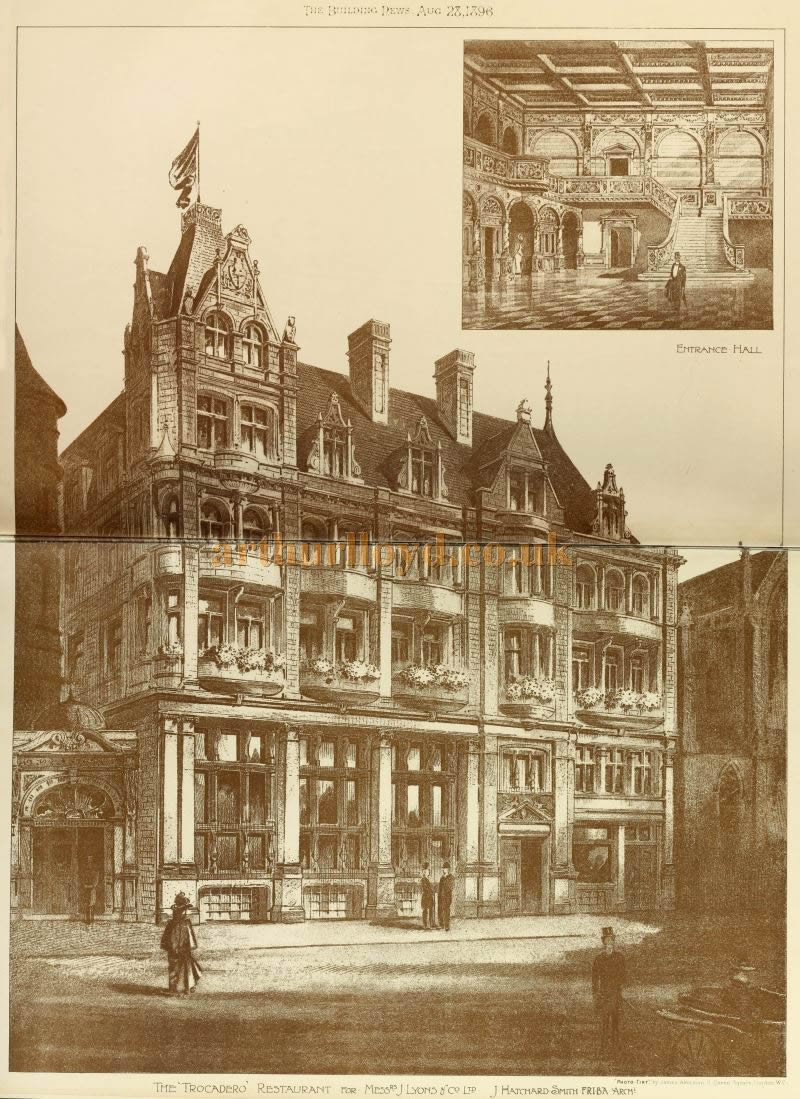 The Great Windmill Street Facade of the Trocadero Restaurant - From The Building News and Engineering Journal of September 11th 1896.