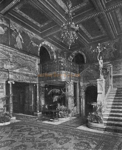 A period postcard showing the entrance foyer of the Lyon's Trocadero Restaurant