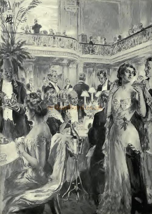 A drawing entitled 'Table D'Hote at the Trocadero' - From 'Living London' 1902.