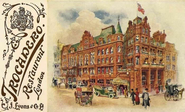 A period postcard depicting the J. Lyons & Co. Ltd Trocadero Restaurant