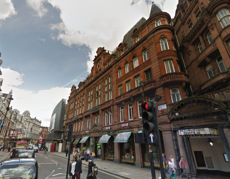 A Google StreetView Image of the Avenue Mansions Building, Later the Trocadero Restaurant, Today the Picture House Cinema, on Shaftesbury Avenue - Click to Interact.