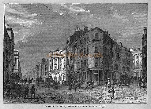 Piccadilly Circus, from Coventry Street in 1875 - From 'Old & New London'  - Published 1897