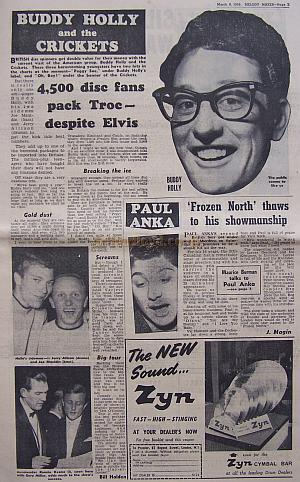 Page 3 of Melody Maker for the 8th of March 1958 - Captions read: Buddy Holly - The public seems to like us. Holly's sidemen, Jerry Alison (drums) and Joe Mauldin (bass). - Bandleader Ronnie Keene seen here with Garry Miller, adds much to the show's success.