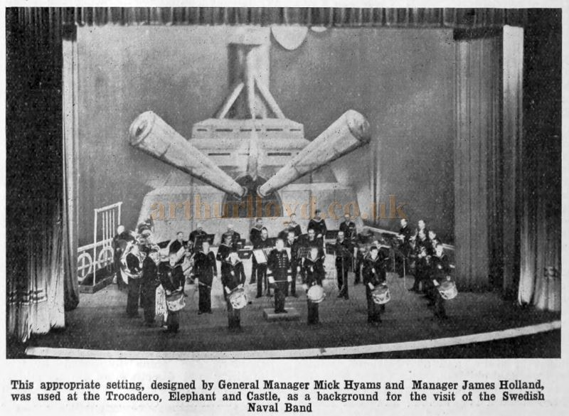 The Swedish Naval Band performing at the Trocadero, Elephant & Castle in 1931 - From The Bioscope Cinema magazine of 1931.