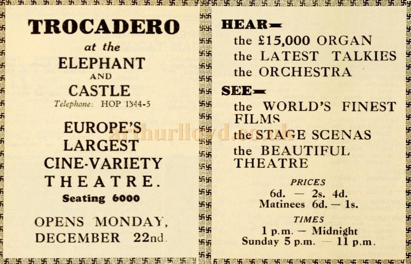 An Advertisement for the Opening of the Trocadero Elephant and Castle - From the Weekly Kinema Guide of December 1930.