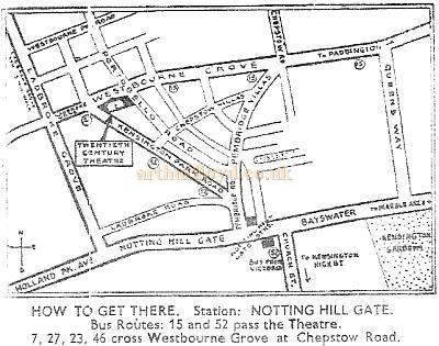 A map showing the location of the Twentieth Century Theatre, printed on the reverse of a piece of headed stationery - Courtesy The Margaret & Brian Knight Collection.