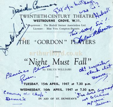 A signed programme for the Gordon Players' production of Emlyn Williams 'Night Must Fall' at the Twentieth Century Theatre in April 1947 - Courtesy Jan Mackay .