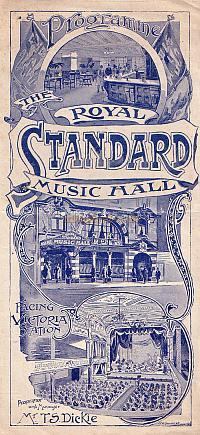 Programme for the Royal Standard Music Hall May 2nd 1904 - Click to see the entire programme.