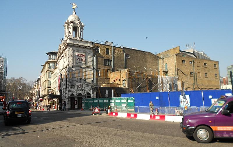 The side elevation of the Victoria Palace Theatre is revealed for the first time since it was constructed, during development work on the surrounding area for the enlargement and upgrade of Victoria Station in March 2012 - Photo M.L.