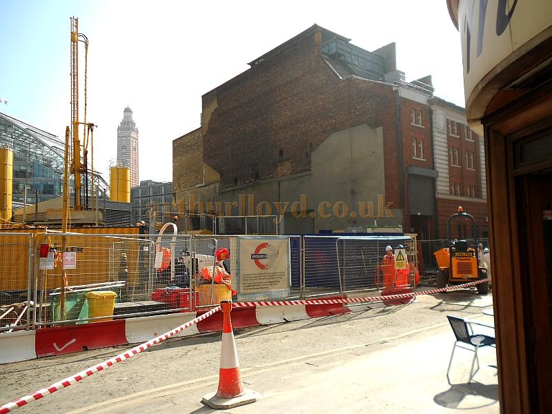 The rear elevation of the Victoria Palace Theatre is revealed for the first time since it was constructed, during development work on the surrounding area for the enlargement and upgrade of Victoria Station in March 2012 -  Photo M.L.