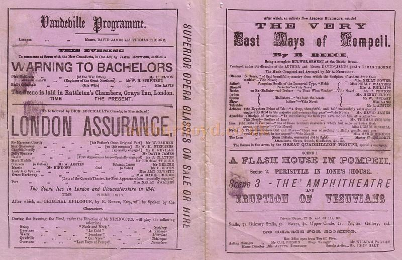 Details from a Programme for 'London Assurance' at the Vaudeville Theatre in 1872, the play ran for 165 performances and was accompanied by 'The Very Last Days of Pompeii' and 'Warning to Bachelors.'